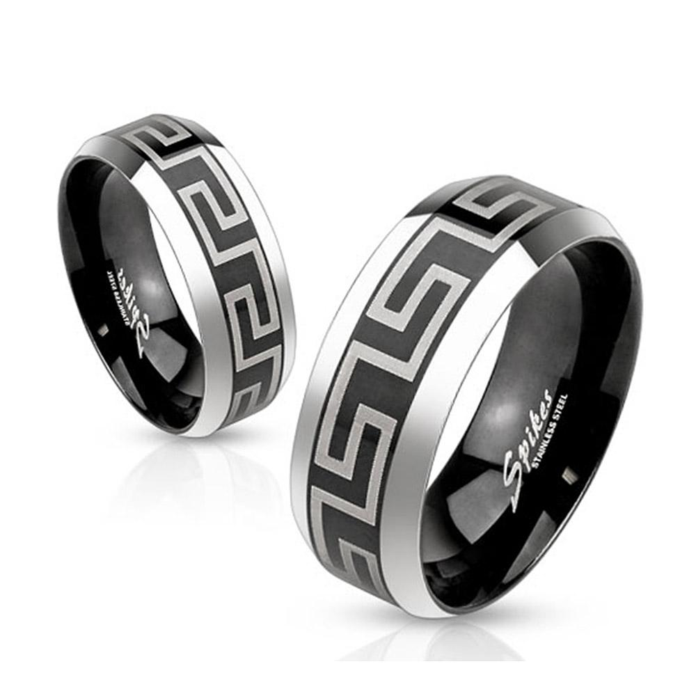 Laser Etched Maze Black IP Center Stainless Steel Band Ring with Beveled Edge - Thumbnail 0