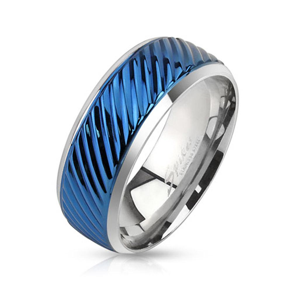Diagonal Groove Blue IP Lined Center Stainless Steel Band Ring