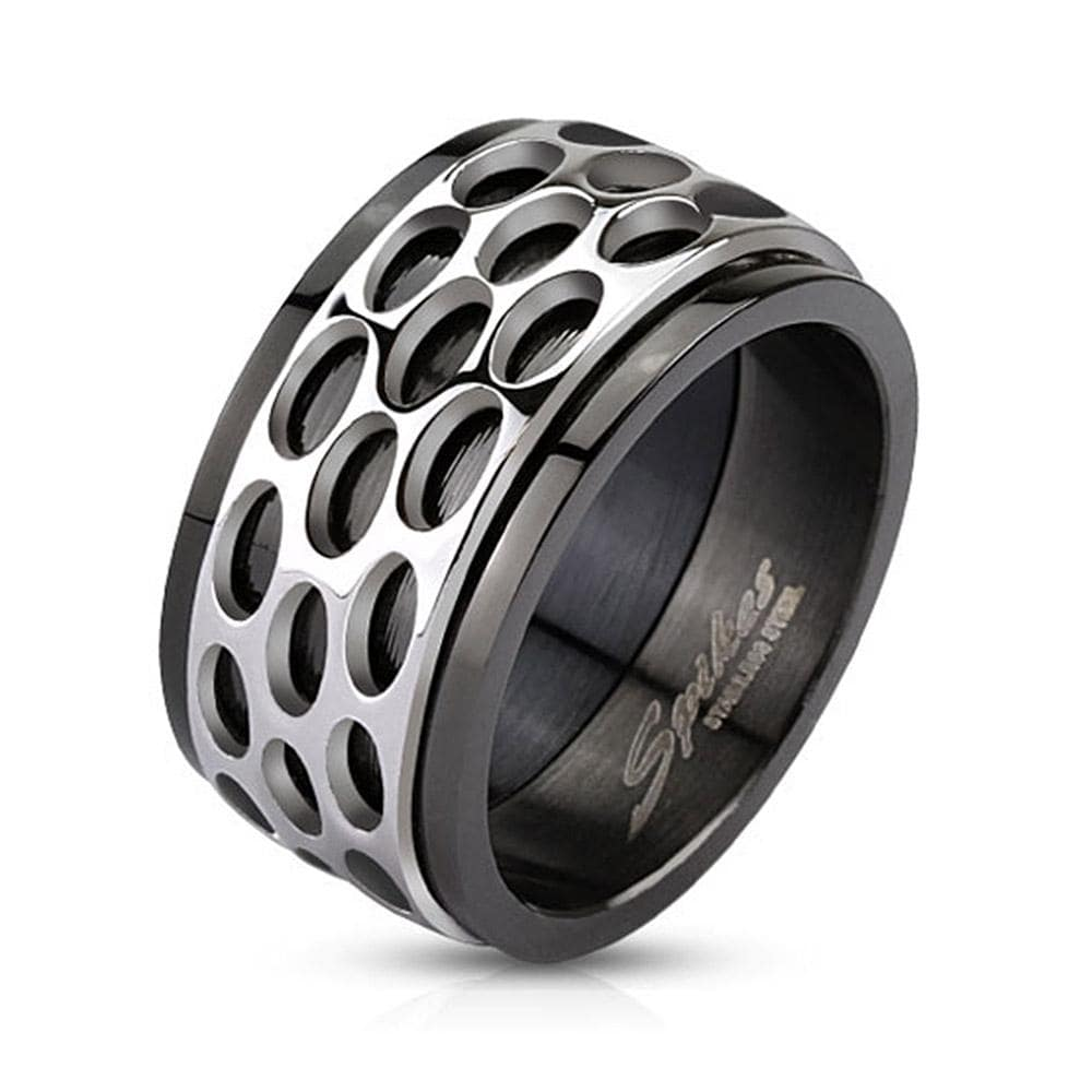 Oval Pattern Spinner Band Stainless Steel Ring Black IP