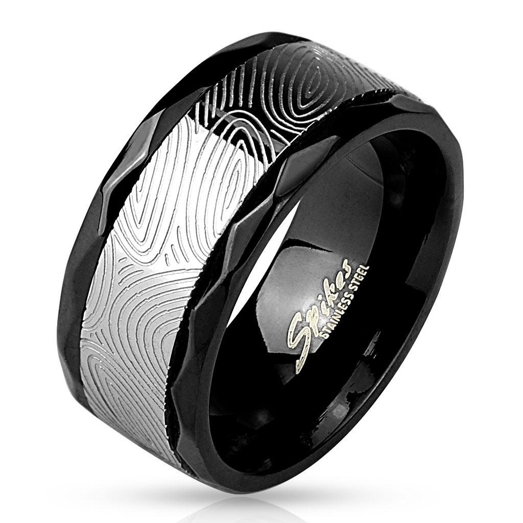 Finger Print Spinner Center with Faceted Edges Black IP Stainless Steel Ring