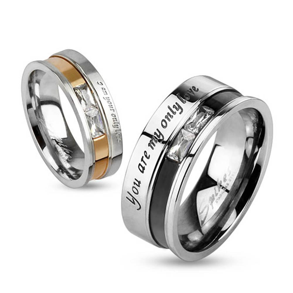 "Double Princess Cut Gems with ""My Only Love"" Engraved Two Toned Stainless Steel Band Ring"