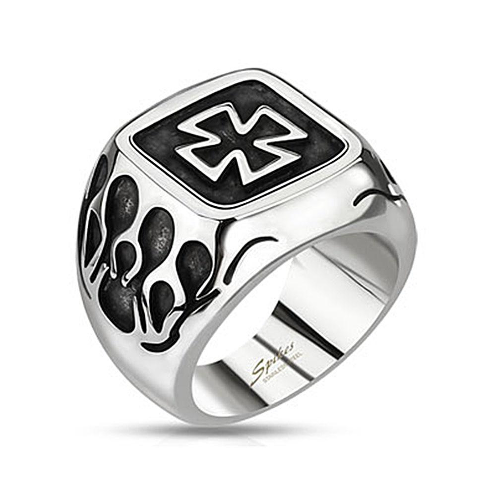 Celtic Cross Plate with Flames Wide Cast Stainless Steel Ring