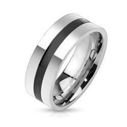 Black Line Centered Stainless Steel Band Ring - Thumbnail 0