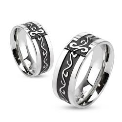 Grooved Tribal Swirls Stainless Steel Black IP Band Ring - Thumbnail 0