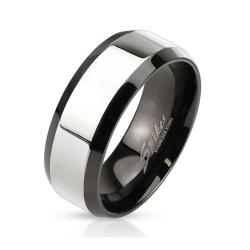 Glossy Center with Beveled Edge Two Tone Stainless Steel Band Ring - Thumbnail 0