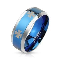 Iron Cross Laser Etched Stainless Steel Blue IP Center Band Ring with Beveled Edge