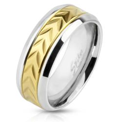 Arrow Engraved Gold IP Center Stainless Steel Ring with Beveled Edge - Thumbnail 0