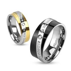 """You Are Always In My Heart"" Diagonal Engraved Two Toned Gold or Black Plated Stainless Steel Ring"