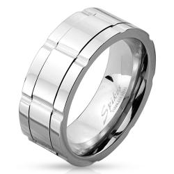 Multi Grooved Center Stainless Steel Spinner Ring - Thumbnail 0