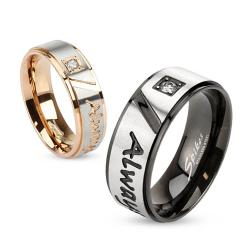 """Always Together"" Engraved Two Tone Stainless Steel Ring with Single CZ"
