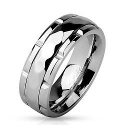 Diamond Pattern Grooved Center Stainless Steel Spinner Ring - Thumbnail 0