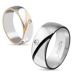 Black or Rose Gold Plated Diagonal Line with Single CZ Stainless Steel Ring