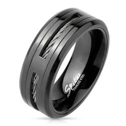 Center Cable Inlayed Black IP Stainless Steel Ring - Thumbnail 0