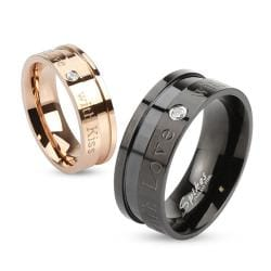 """With Love with Kiss"" Inscribed Stainless Steel Ring with Single CZ"