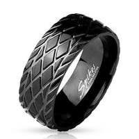 Diamond Cut Grooved Dome Black IP Stainless Steel Ring