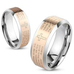 Lord's Prayer Rose Gold IP Beveled Edge Stainless Steel Ring - Thumbnail 0