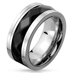 Two Tone Diamond Pattern Black IP Stainless Steel Spinner Ring - Thumbnail 0