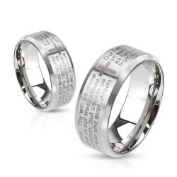 Lord's Prayer Laser Etched Over Brushed Finished Beveled Edge 6mm or 8mm Stainless Steel Ring