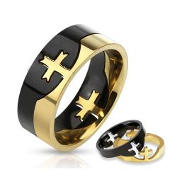 Cross Puzzle Two Tone Stainless Steel Ring - Thumbnail 0