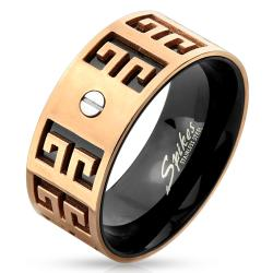 Two Tone Maze Bolt Stainless Steel IP Ring - Thumbnail 0