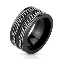 Layered Cuban Chains Stainless Steel Black IP Spinner Ring - Thumbnail 0