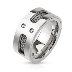 Double Wires Inlaid Stainless Steel Band Ring - Thumbnail 0