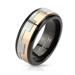 Square Link Pattern Two Tone Spinner Black IP Band Stainless Steel Ring
