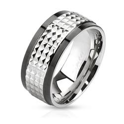 Spiked Center Two Toned Spinner Stainless Steel Ring - Thumbnail 0
