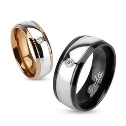 Inner Black & Rose Gold IP Two Toned Stainless Steel Dome Ring with Single CZ