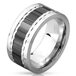 Multi Grooved Two Tone Black IP Stainless Steel Spinner Ring - Thumbnail 0