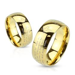 Lords Prayer Laser Etched Gold IP 6mm or 8mm Stainless Steel Ring - Thumbnail 0