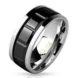 Two Tone Grooved Black IP Center Stainless Steel Spinner Ring - Thumbnail 0