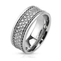 Checkered Center Stainless Steel Ring with Double Braided Lines
