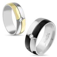 Single CZ Two Tone Colored IP Stainless Steel Ring