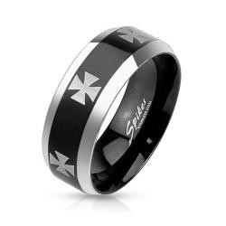 Iron Cross Laser Etched Stainless Steel Black IP Center Band Ring with Beveled Edge - Thumbnail 0