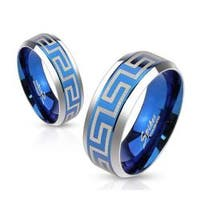 Laser Etched Maze Blue IP Center Stainless Steel Band Ring with Beveled Edge