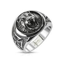 Lion Head w/ Celtic Cross Cast Stainless Steel Ring