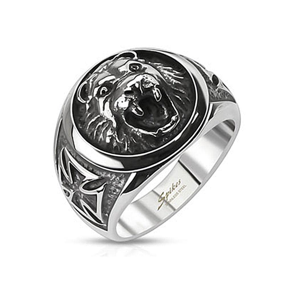 Lion Head w/ Celtic Cross Cast Stainless Steel Ring