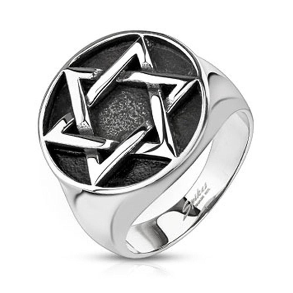 Star of David Medallion Cast Stainless Steel Ring