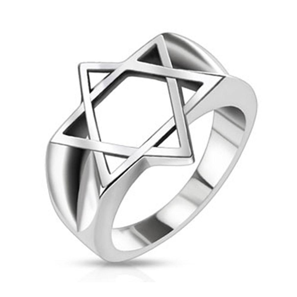 Hollow Star of David Wide Cast Stainless Steel Ring