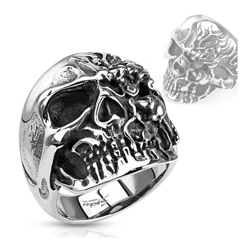 Two-Faced Skull Wide Stainless Steel Ring
