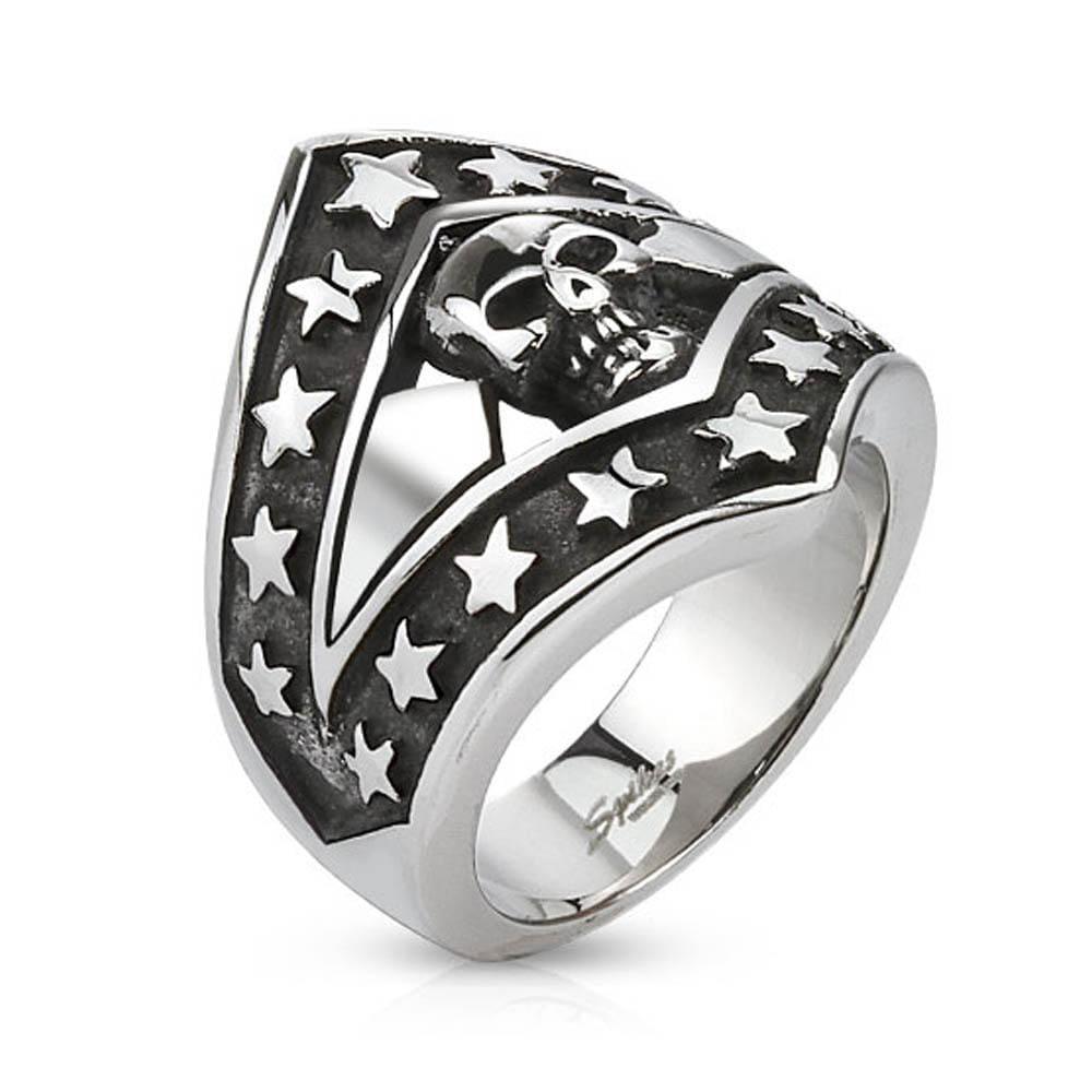 Patriotic Skull Shield Cast Stainless Steel Ring
