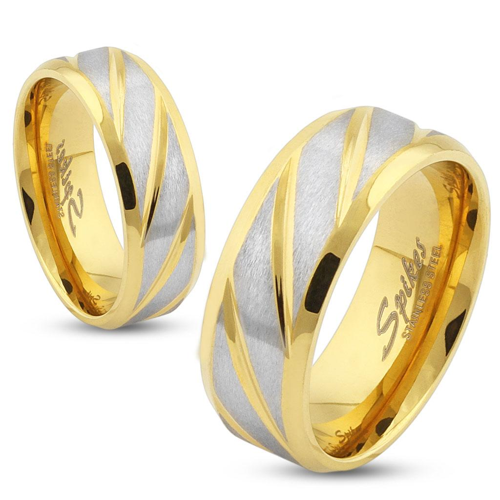 Diagonal Striped Gold IP Stainless Steel Ring