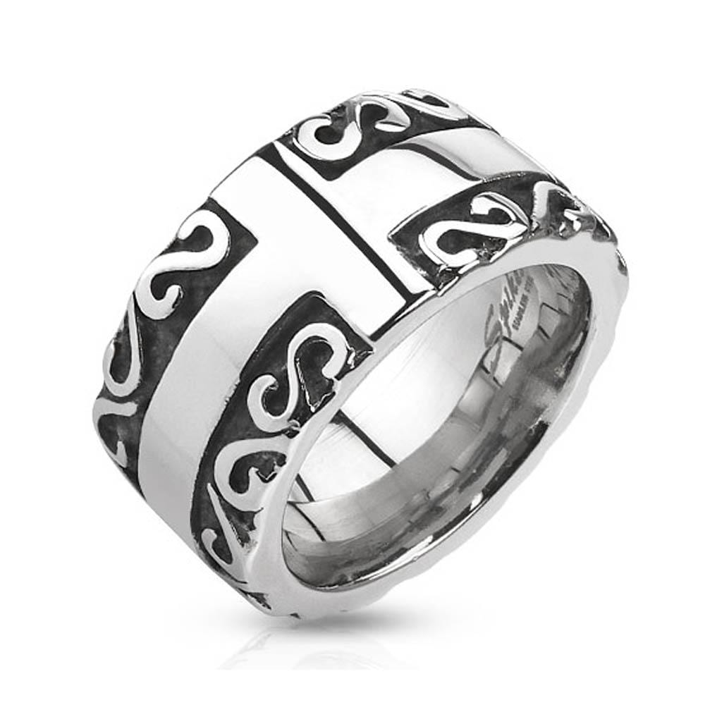 Cross with Tribal Patterned Edge Cast Stainless Steel Ring