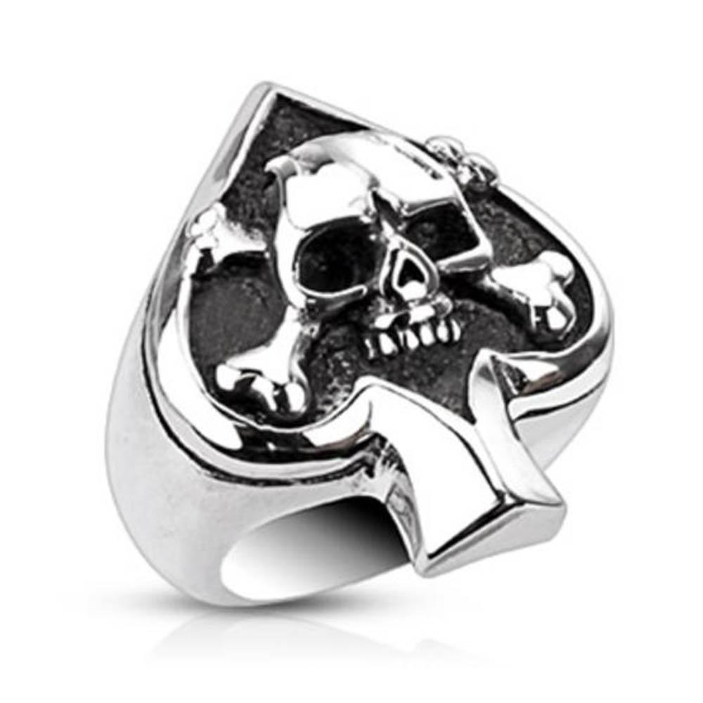 Stainless Steel Spade Ace Crossbone Death Skull Cast Ring