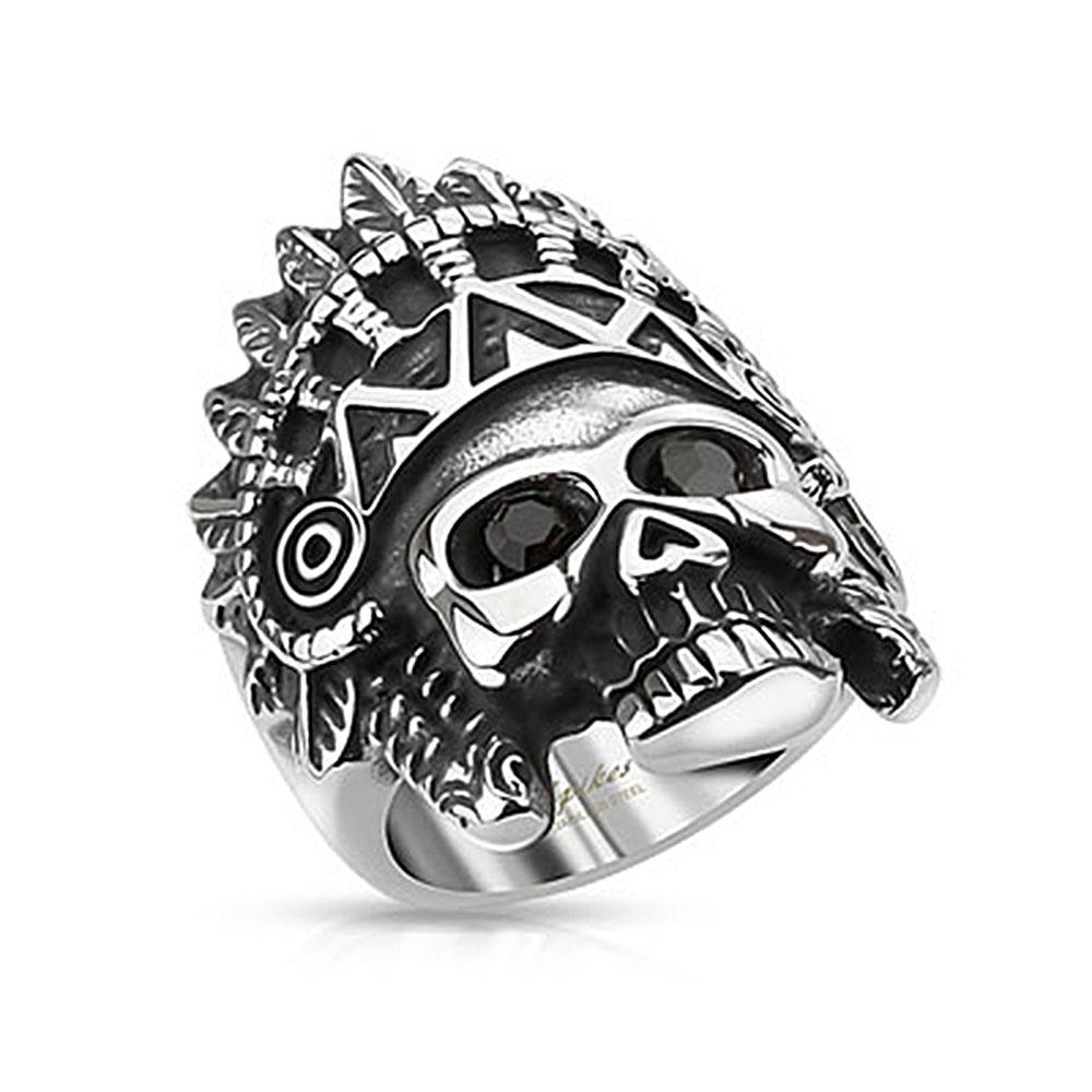Apache Headress Skull with Black Gemmed Eyes Wide Cast Stainless Steel Ring