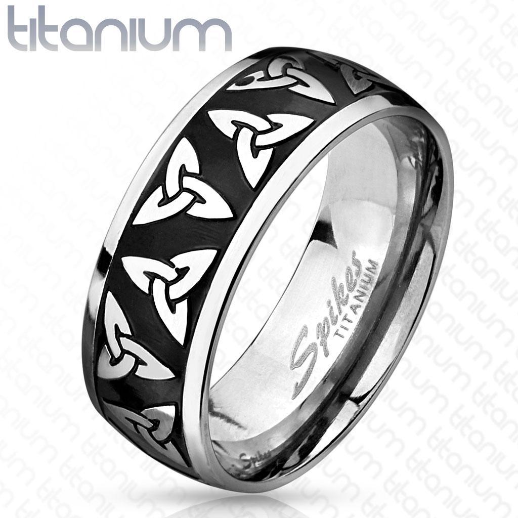 Celtic Trinity Knot Etched Black IP Titanium Ring