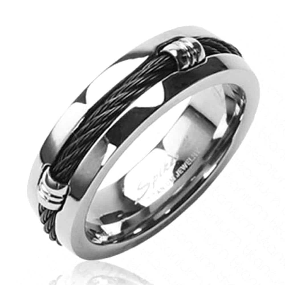 Solid Titanium with Black Chain Design Ring - Thumbnail 0