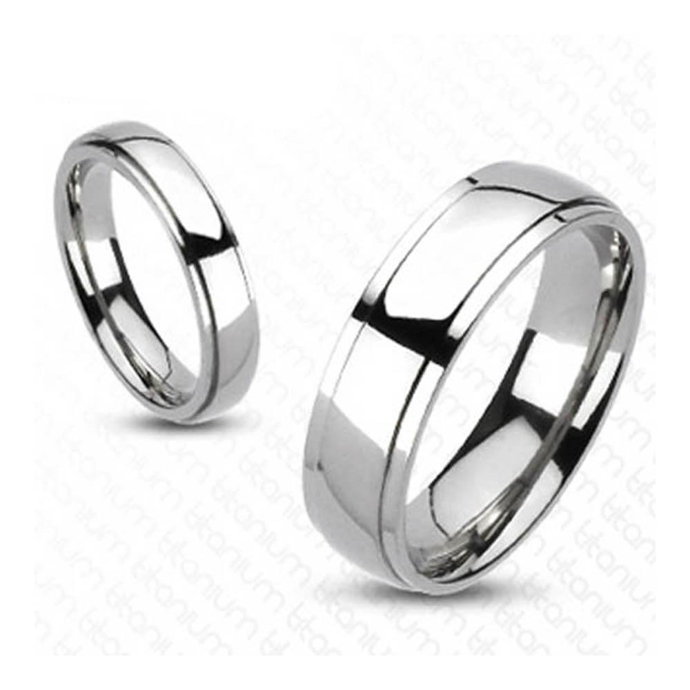 Solid Titanium Classic Beveled Band Ring