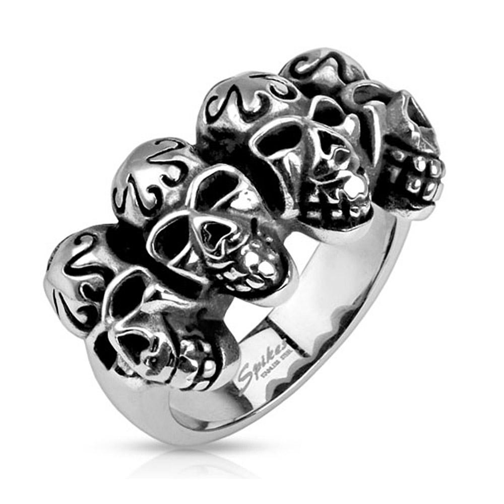 Tribal Linked Skulls Stainless Steel Ring